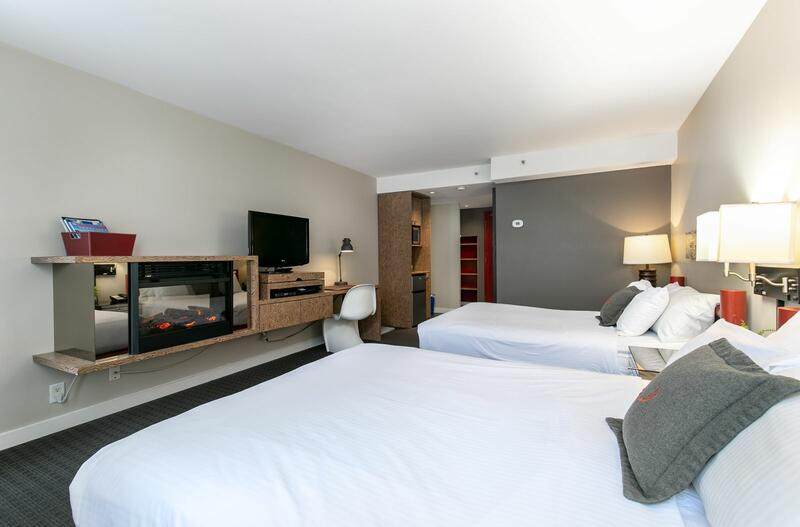 Hotel room with two beds.