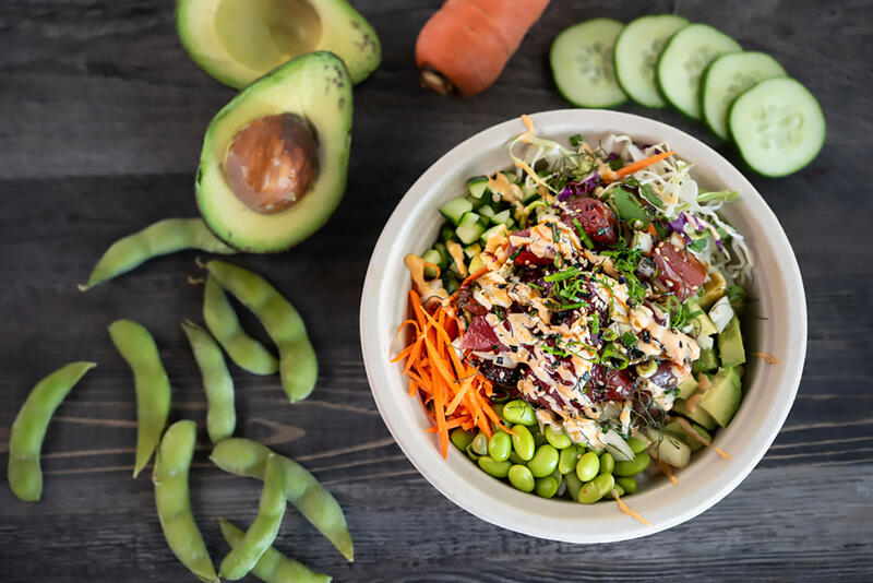 poke bowl and avacado
