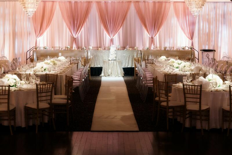 wedding venue with pink backdrop