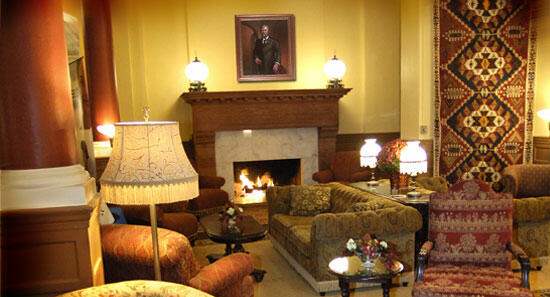 Fireplace in the Hotel Colorado Lobby