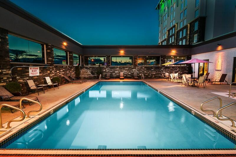 outdoor pool at hotel at night