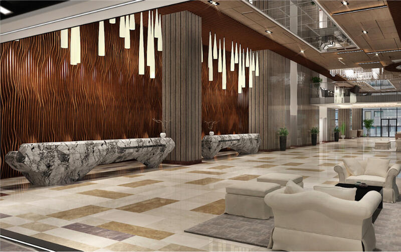 hotel lobby with reception area