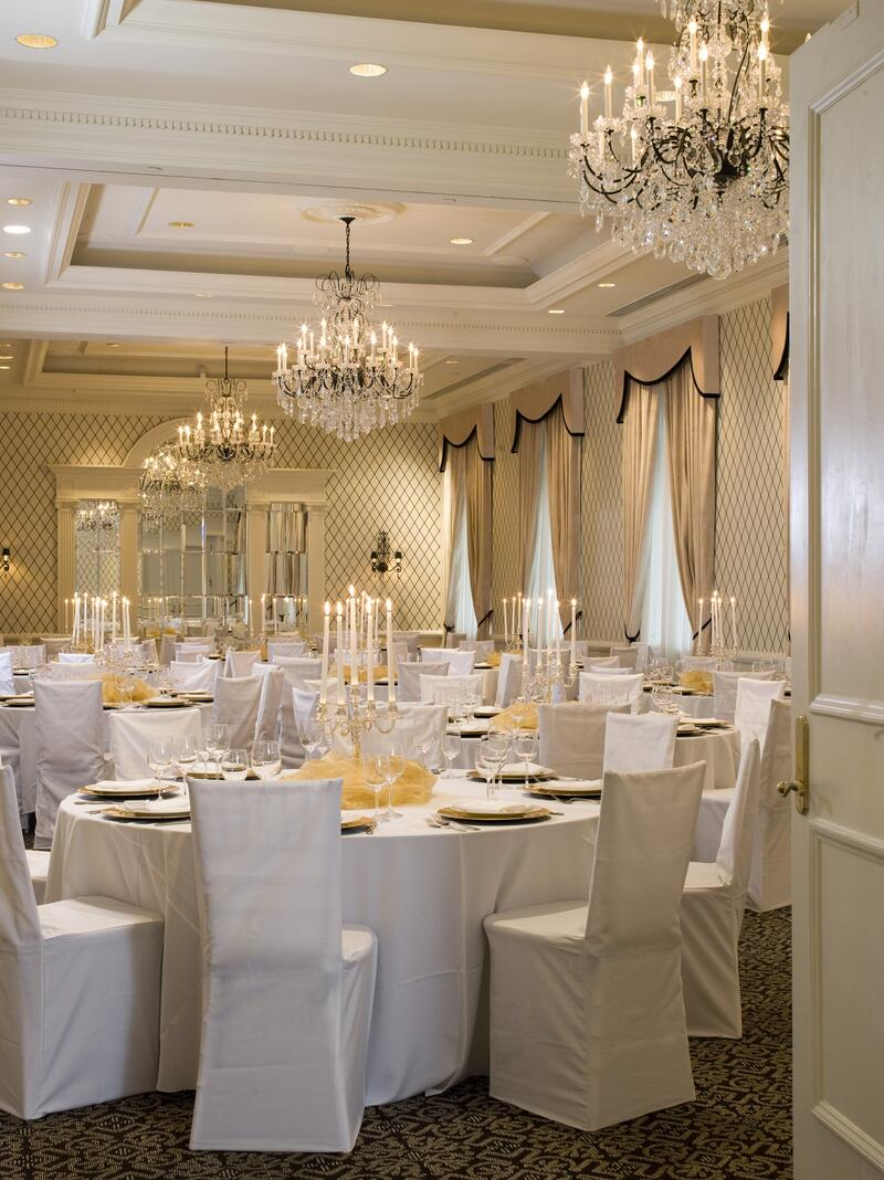 tables and chairs in crystal ballroom