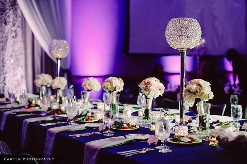 flowers on a table at a wedding