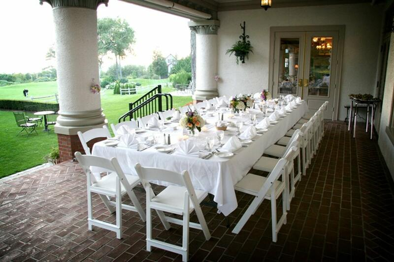 wedding table on patio of building