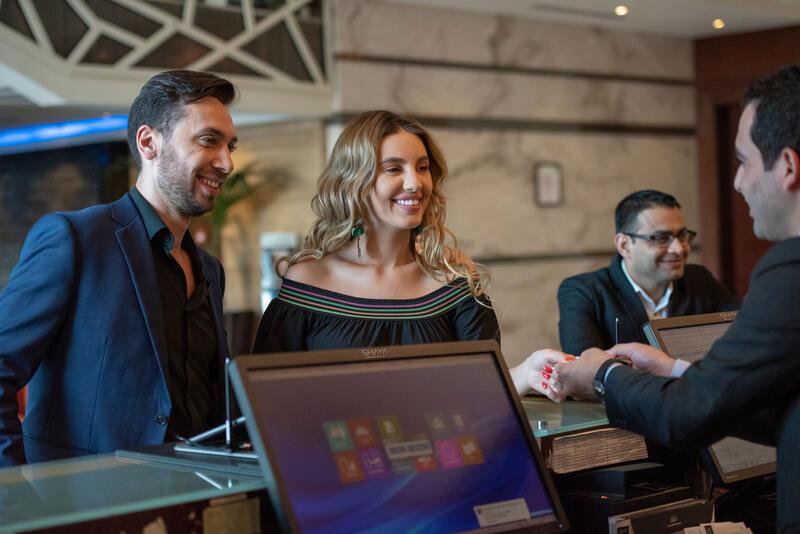 Reception at Ghaya Grand Hotel Dubai