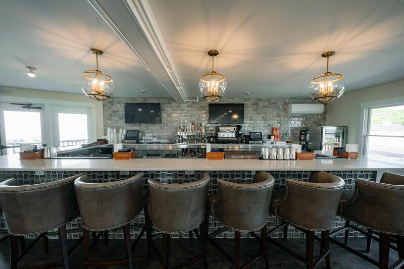 bar area with comfy bar stools