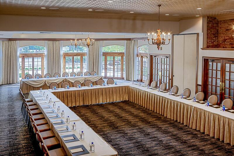 large ballroom with u-shaped chairs