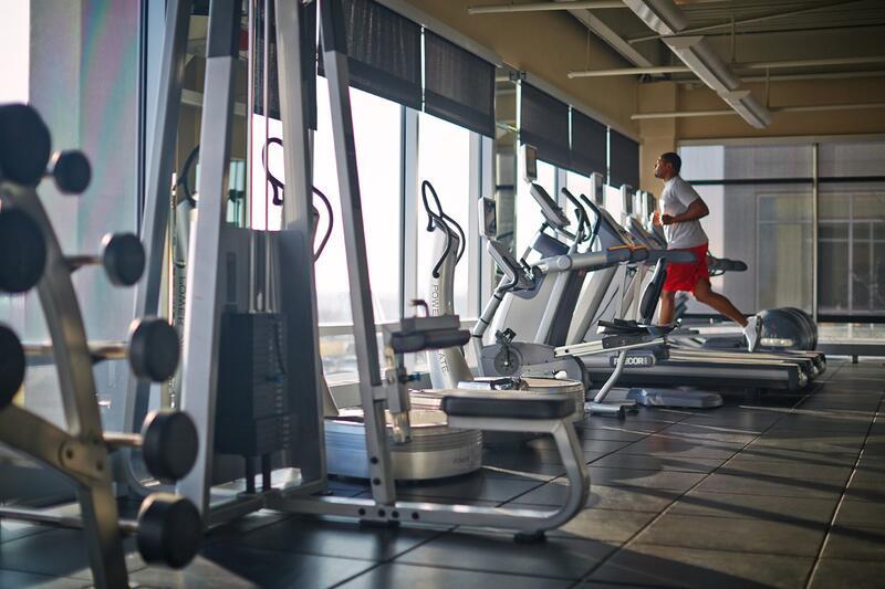 A man jogging on a treadmill