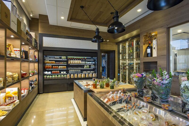 fresh food and drinks in a store