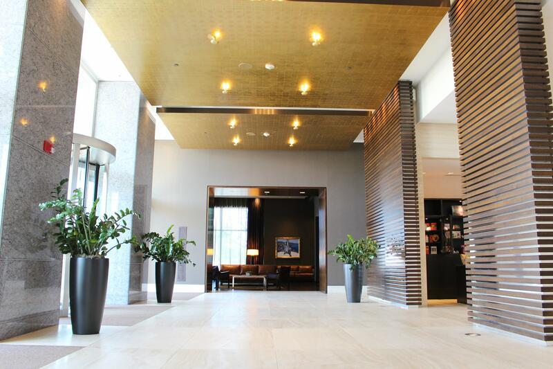 A spacious lobby area of a hotel