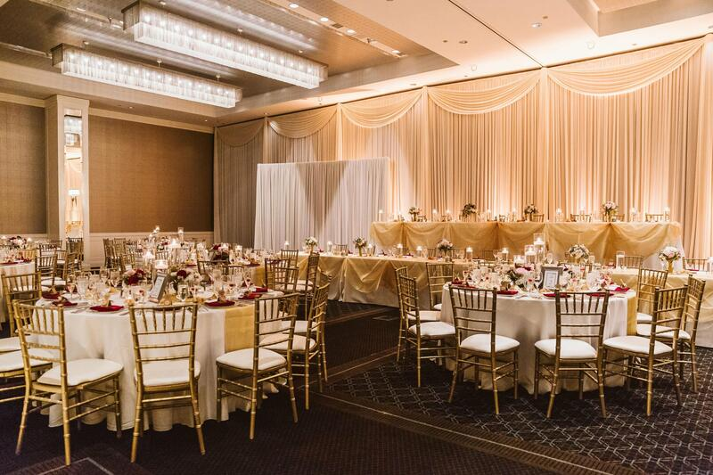 tables in a wedding ballroom