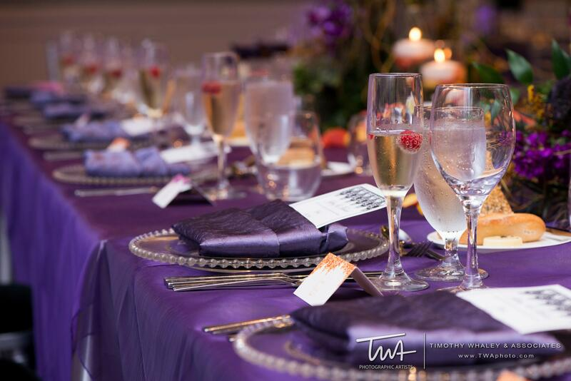 plates and silverware on a large table