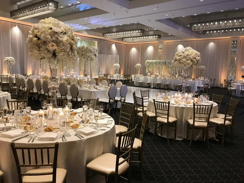 chairs and tables in a wedding reception