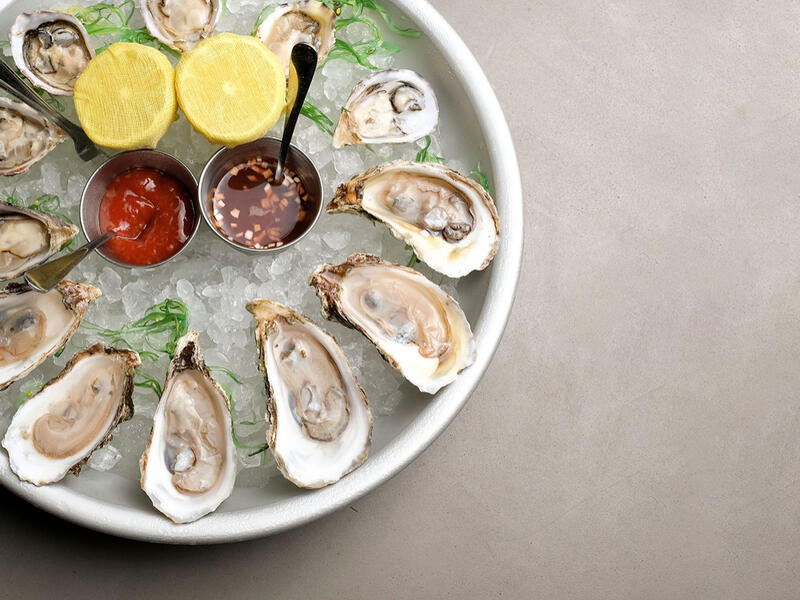 bowl of oysters in ice