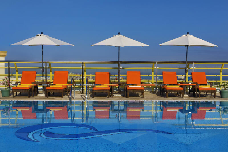 Rooftop pool at City Seasons Muscat