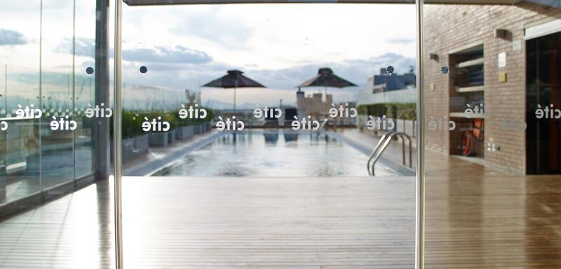 glass doors leading to pool