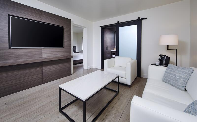a couch and chair facing a tv in a hotel suite