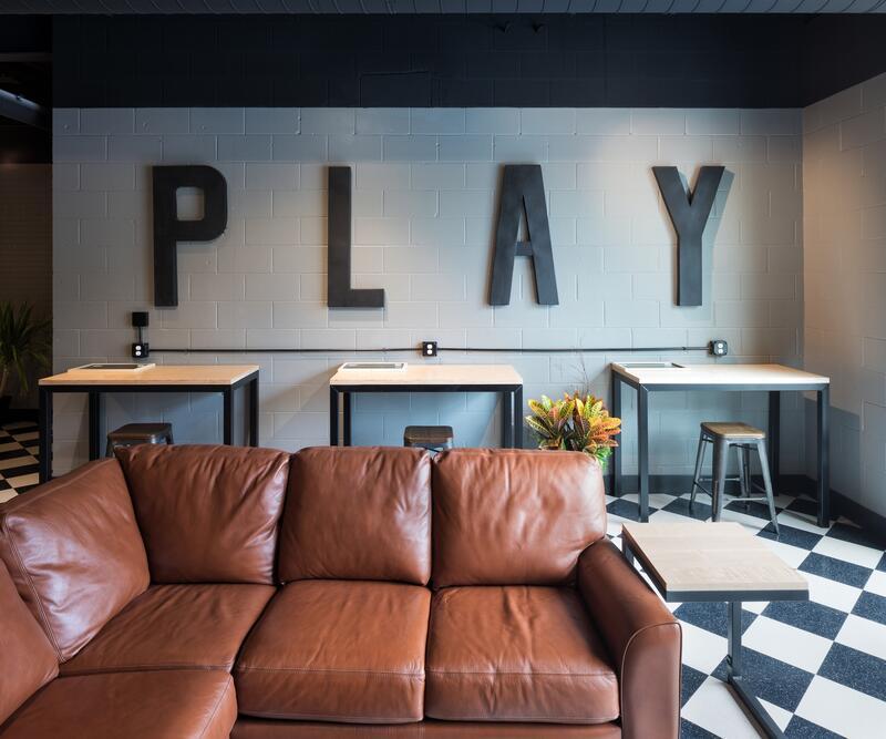 bar décor with leather sofa