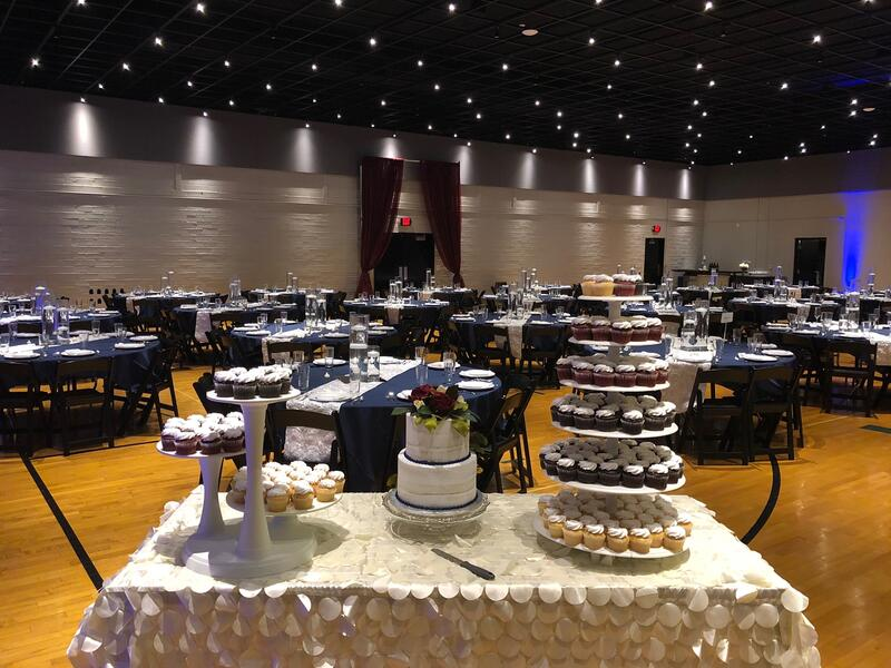 cake table in ballroom