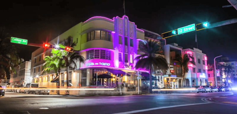 photo of the marlin hotel at night