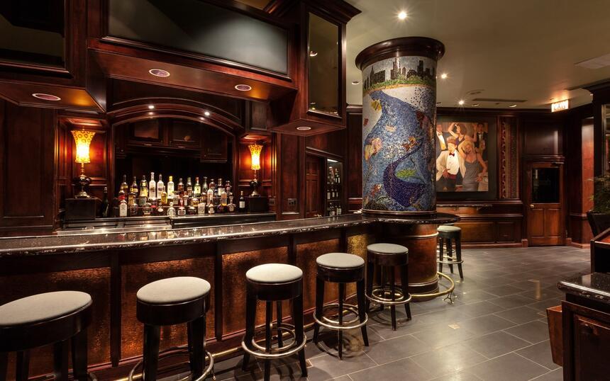 Bar stools at hotel bar