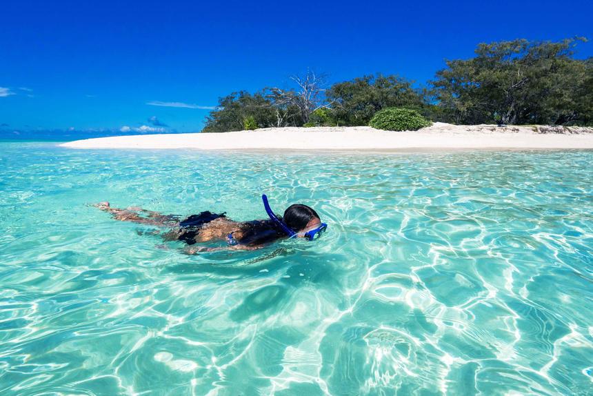 Snorkelling near Heron Island Resort in Queensland, Australia