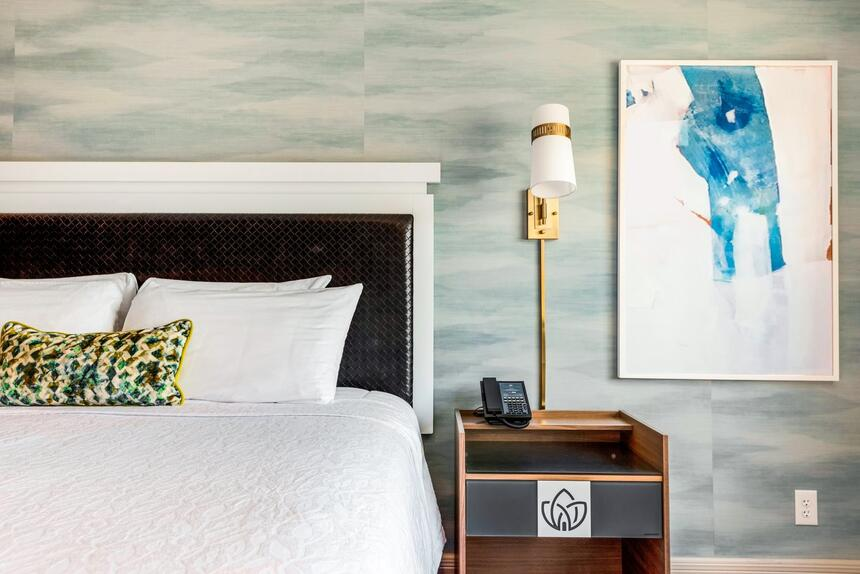 King bed with nightstand