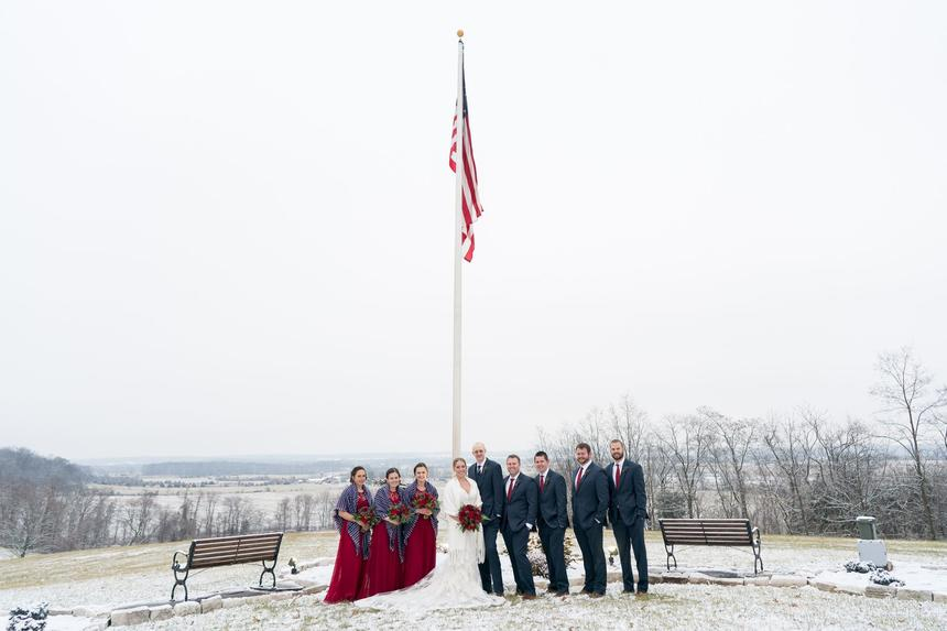 Wedding photo around Gettysburg flagpole.