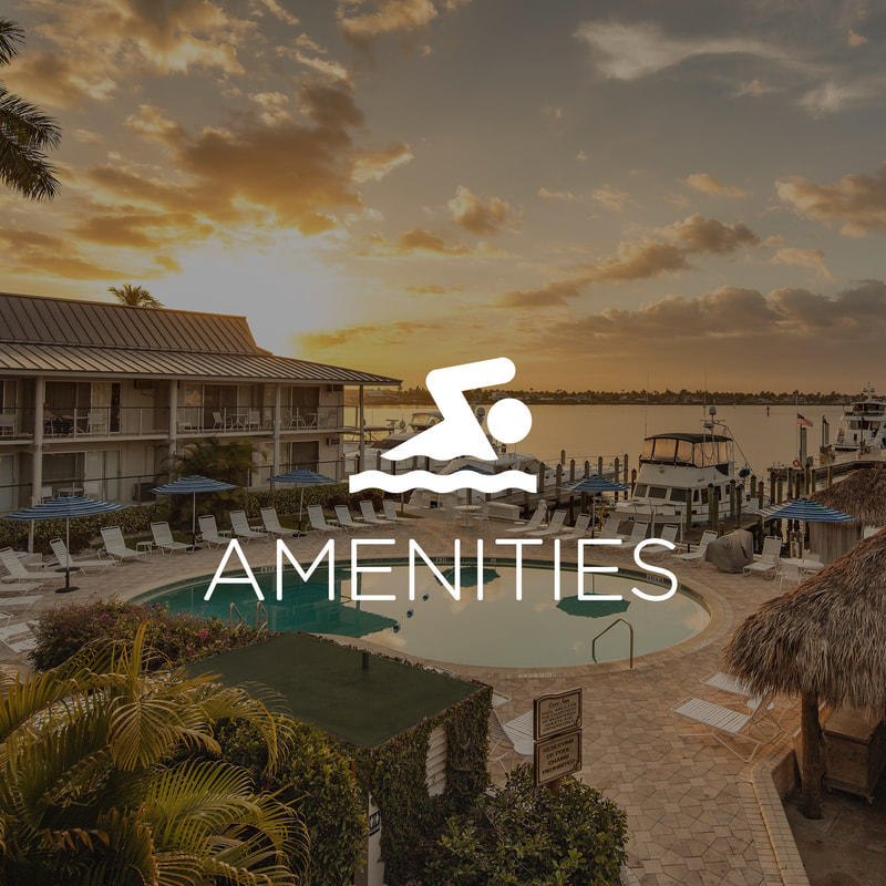 Outdoor pool with Amenities icon overlay.