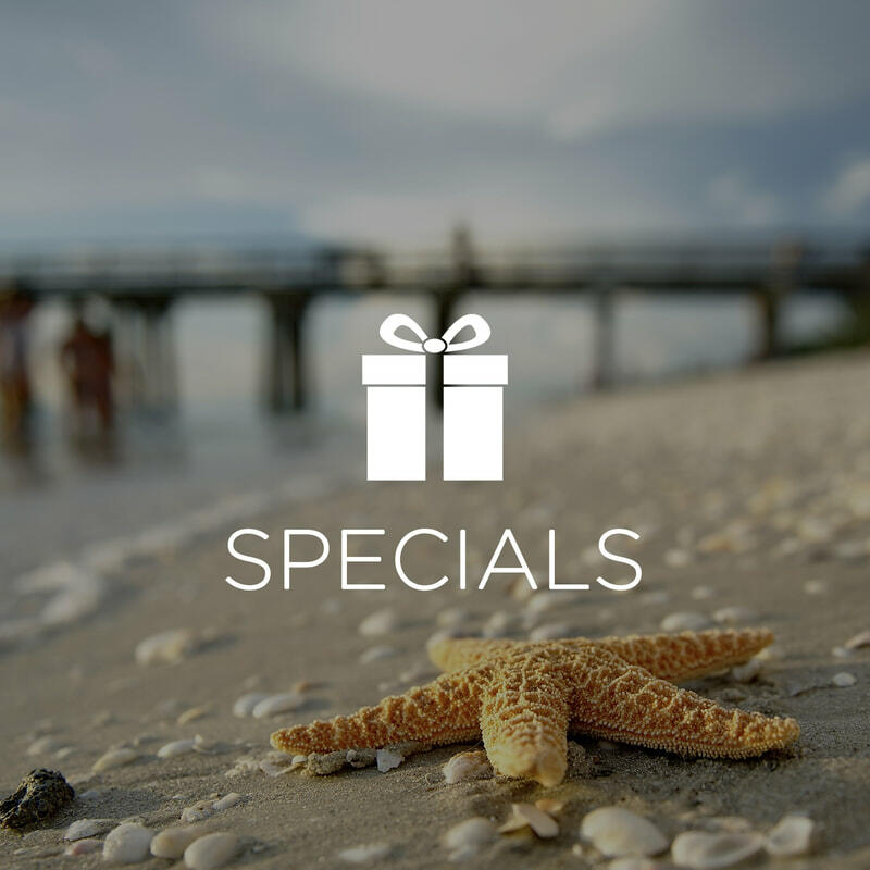 Starfish on beach with Specials icon overlay.