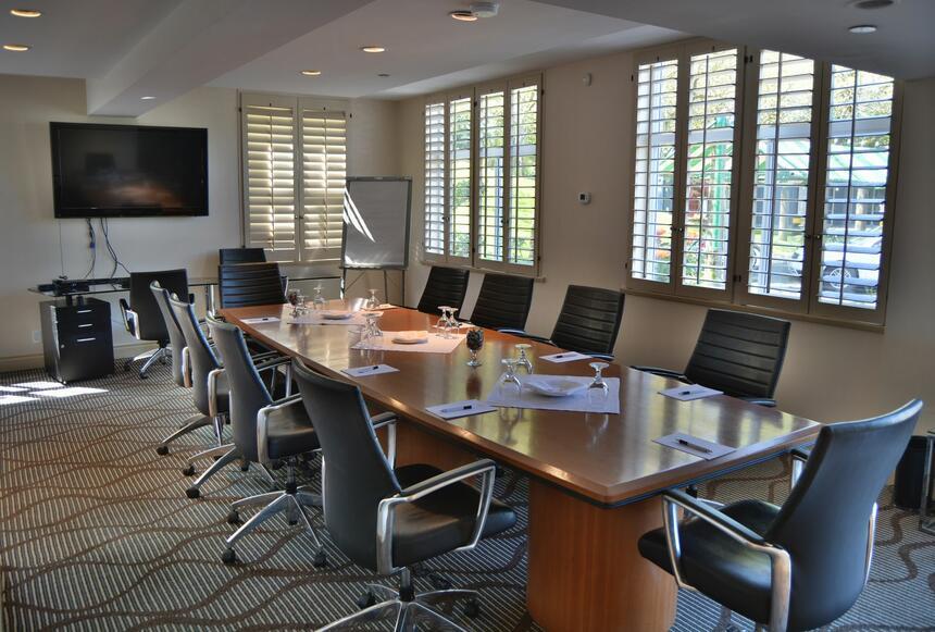 The spacious executive boardroom at Granville Island Hotel