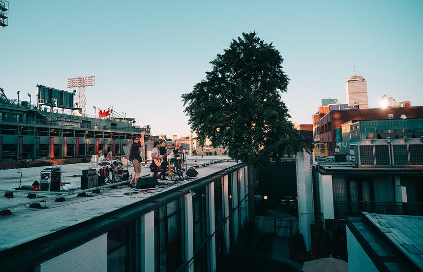 Band Playing on Roof of The Verb Hotel