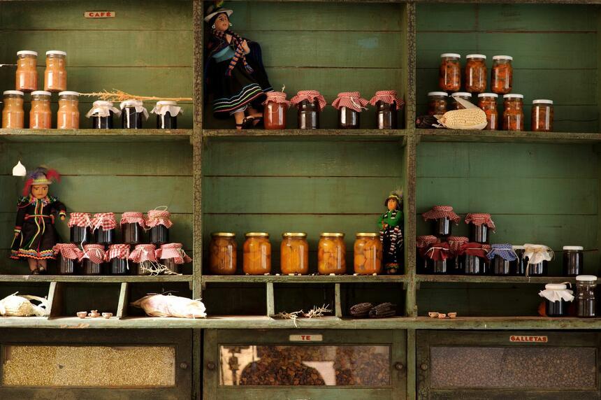 Shelf of jarred jams & pickles at NOI Casa Atacama Hotel