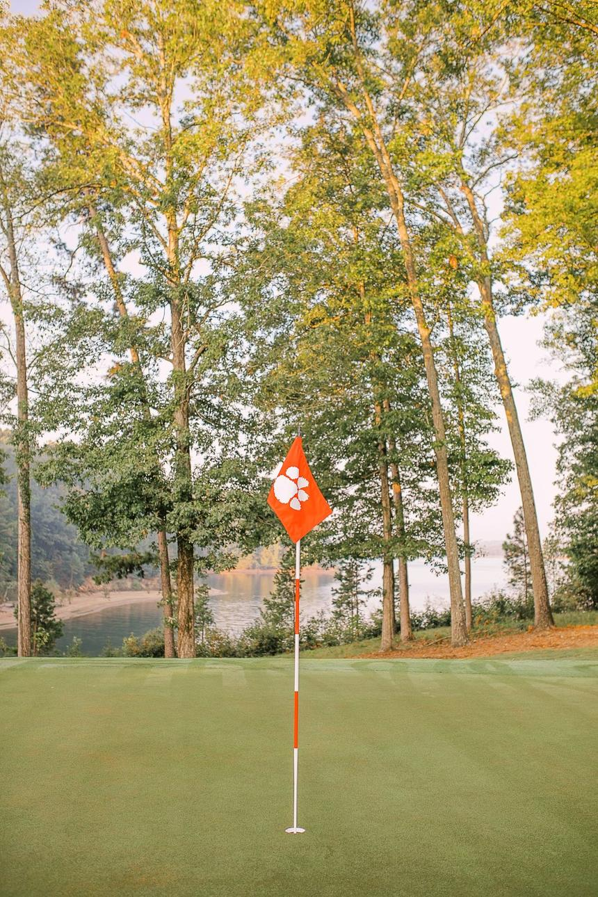 golf course and flag with clemson logo