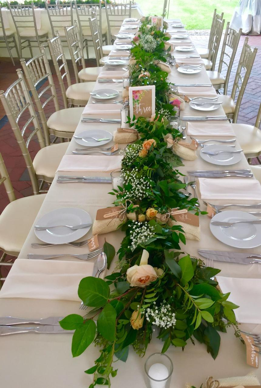 wedding table with plates set up
