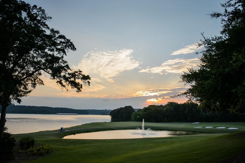 golf course, lake and sunrise