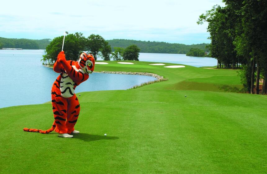 tiger mascot playing golf