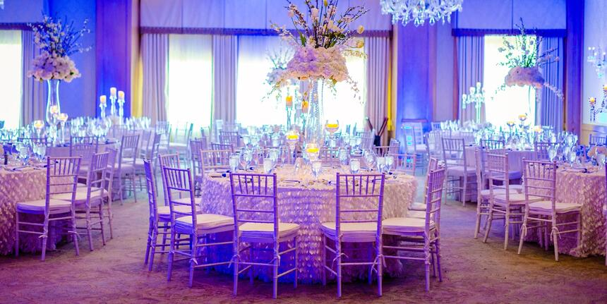 tables and chairs in hotel ballroom