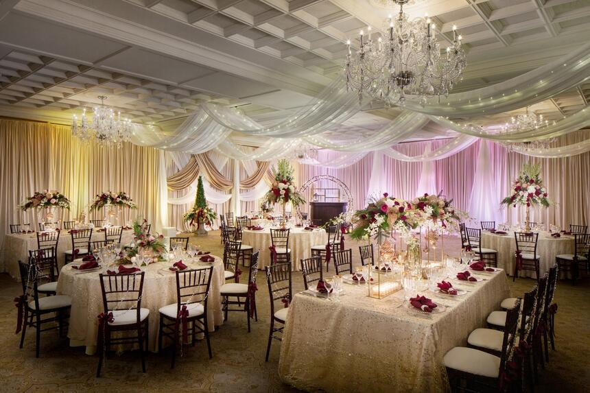 tables and chairs in beautiful ballroom