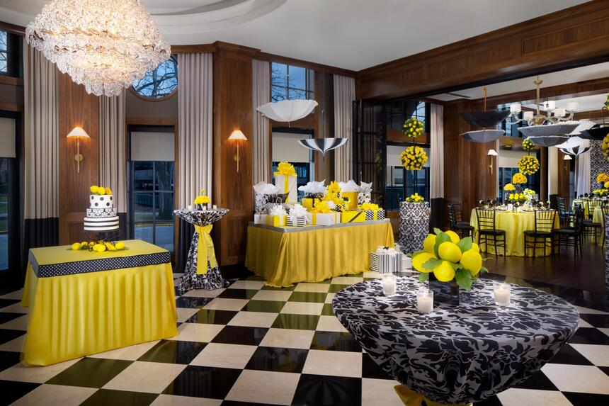 tables in a gorgeous event room