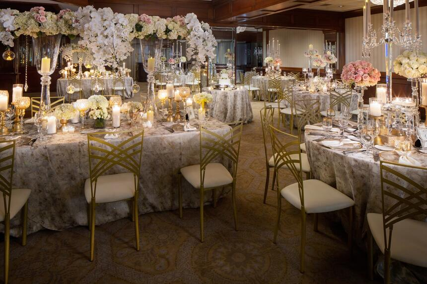 tables and chairs at a wedding reception