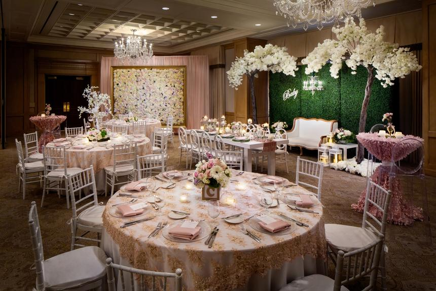 beautifully decorated tables in ballroom
