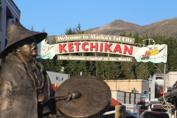 Photo of downtown Ketchikan with mountainscape.