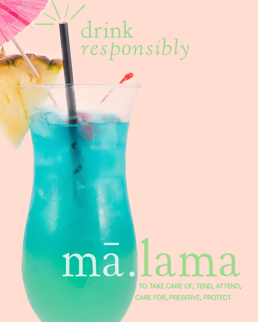 blue fruity cocktail that says drink responsibly