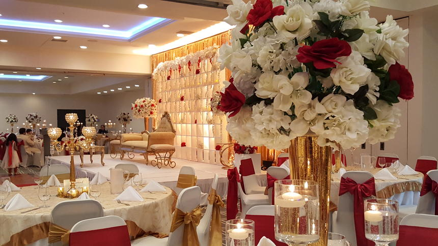 Harborside Banquet Ballroom Wedding, Red and Gold