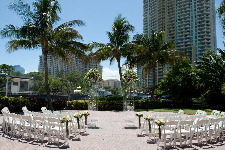 outdoor wedding venue with palm trees