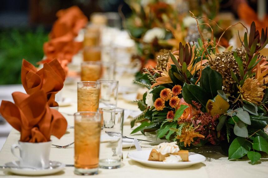 table with fall decorations and tea