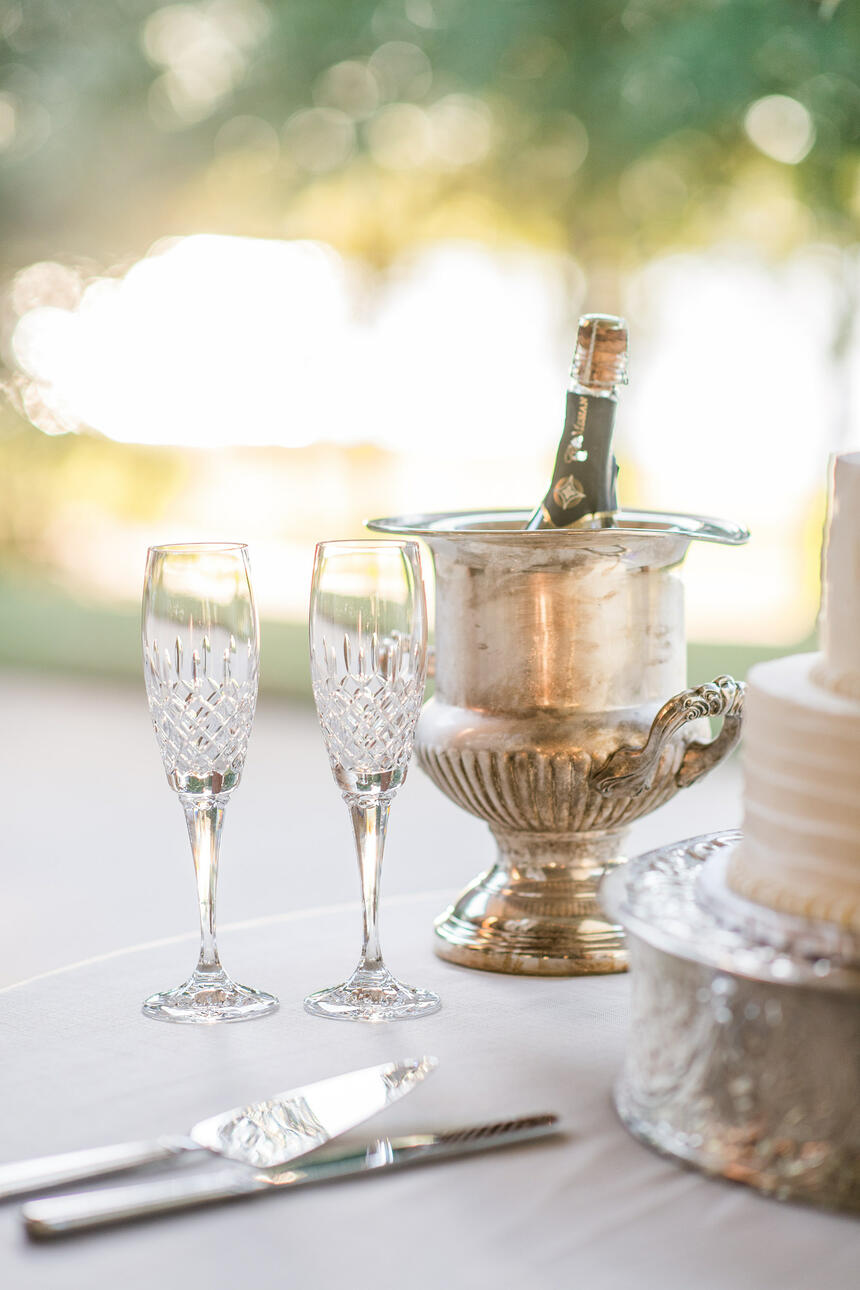 champagne bottle with wedding cake