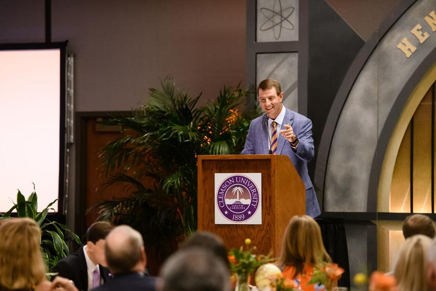 clemson football coach dabo swinney speaking at a conference